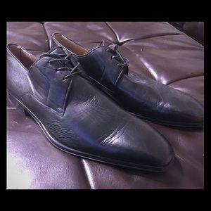 NEW MAGNANNI Men's Black Leather Oxfords MISMATCH